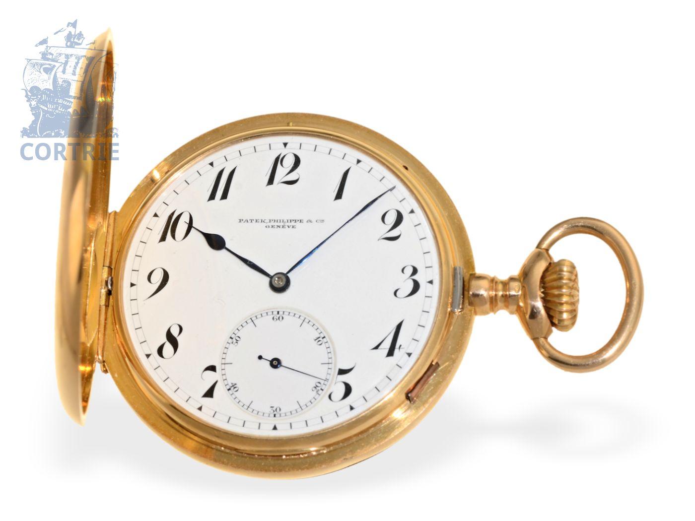 Pocket watch: very heavy pink gold Patek Philippe hunting case watch, Ankerchronometer no.144912, Geneva ca. 1908-