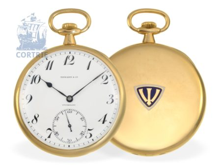 Pocket watch: elegant and very fine gold/enamel dress watch by Patek Philippe, sold to Tiffany New York, Ankerchronometer with 20 jewels-