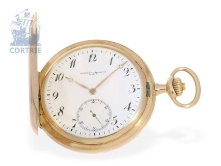 Pocket watch: high-grade gold hunting case watch, Ankerchronometer Vacheron & Constantin, delivered to Beyer, Watchmaker of the Court Bonn 1910, with original box-