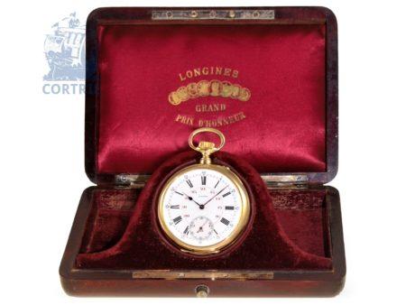 Pocket watch: very heavy observatory chronometer by Longines, original box, Switzerland ca. 1900-