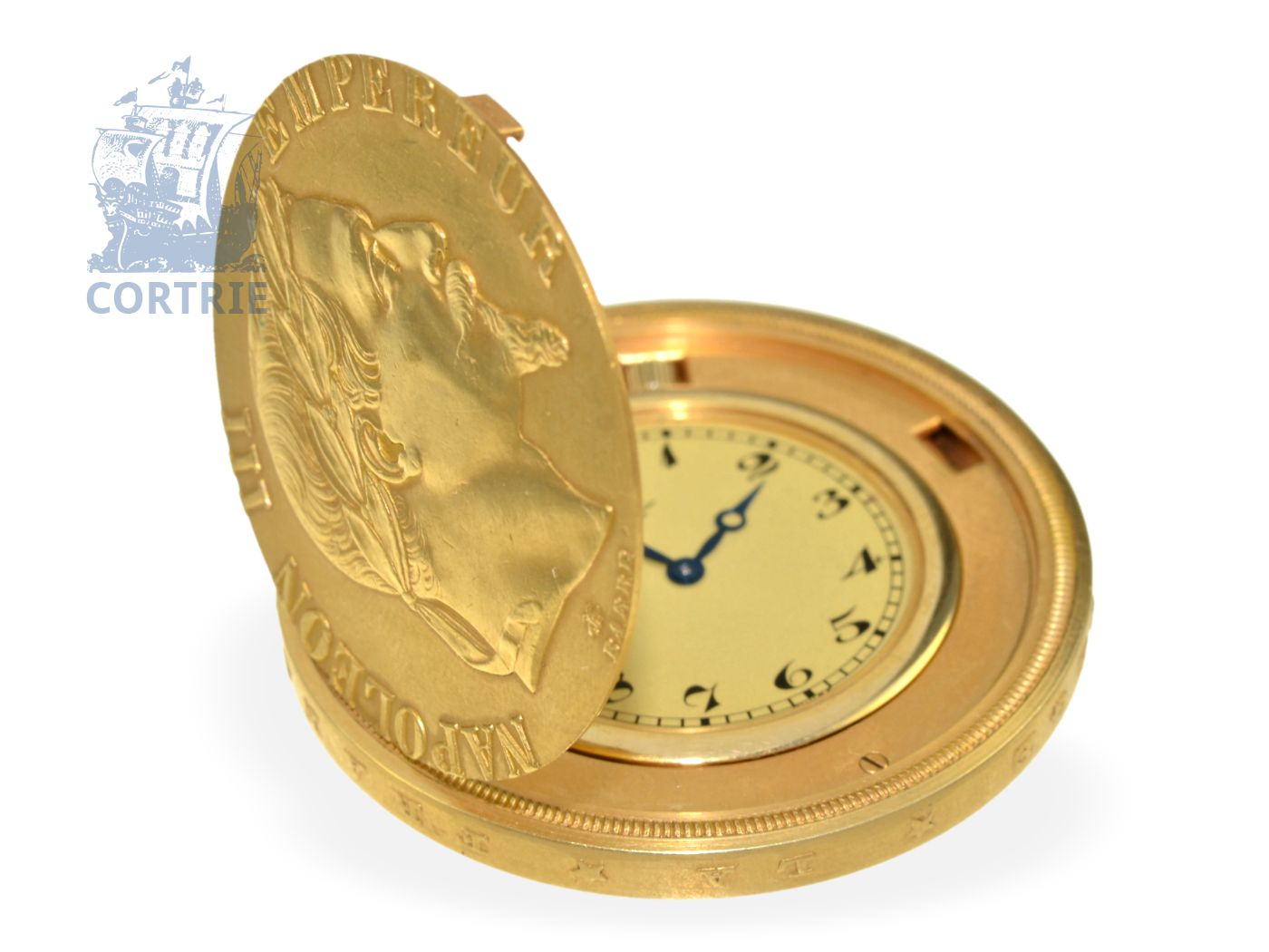 Pocket watch/dress watch: extremely rare coin watch with coin case Napoleon III 100Fr., Paul Piguet ca. 1960-