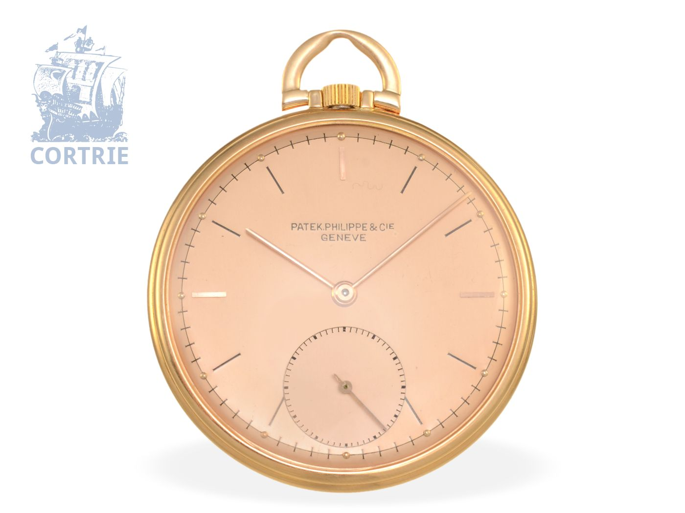 Pocket watch: very fine and elegant Patek Philippe dress watch with pink gold dial, Geneva from the 40s-