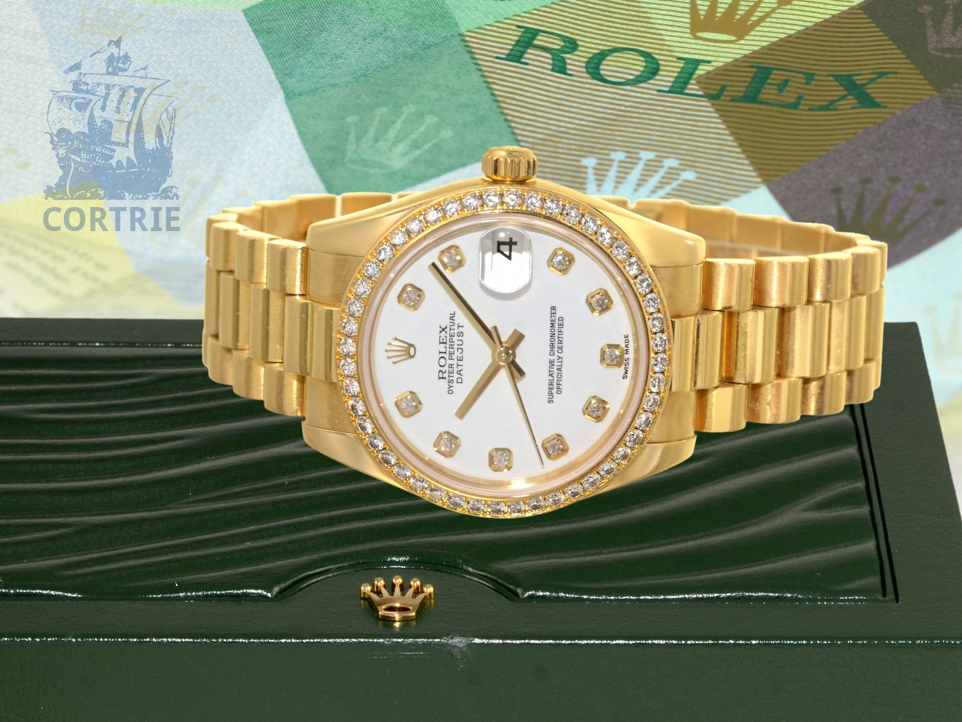 Wristwatch: luxurious edition of ROLEX OYSTER PERPETUAL DATEJUST 31mm MIDSIZE with original diamond bezel and diamond dial, original box and certificates from 2007-