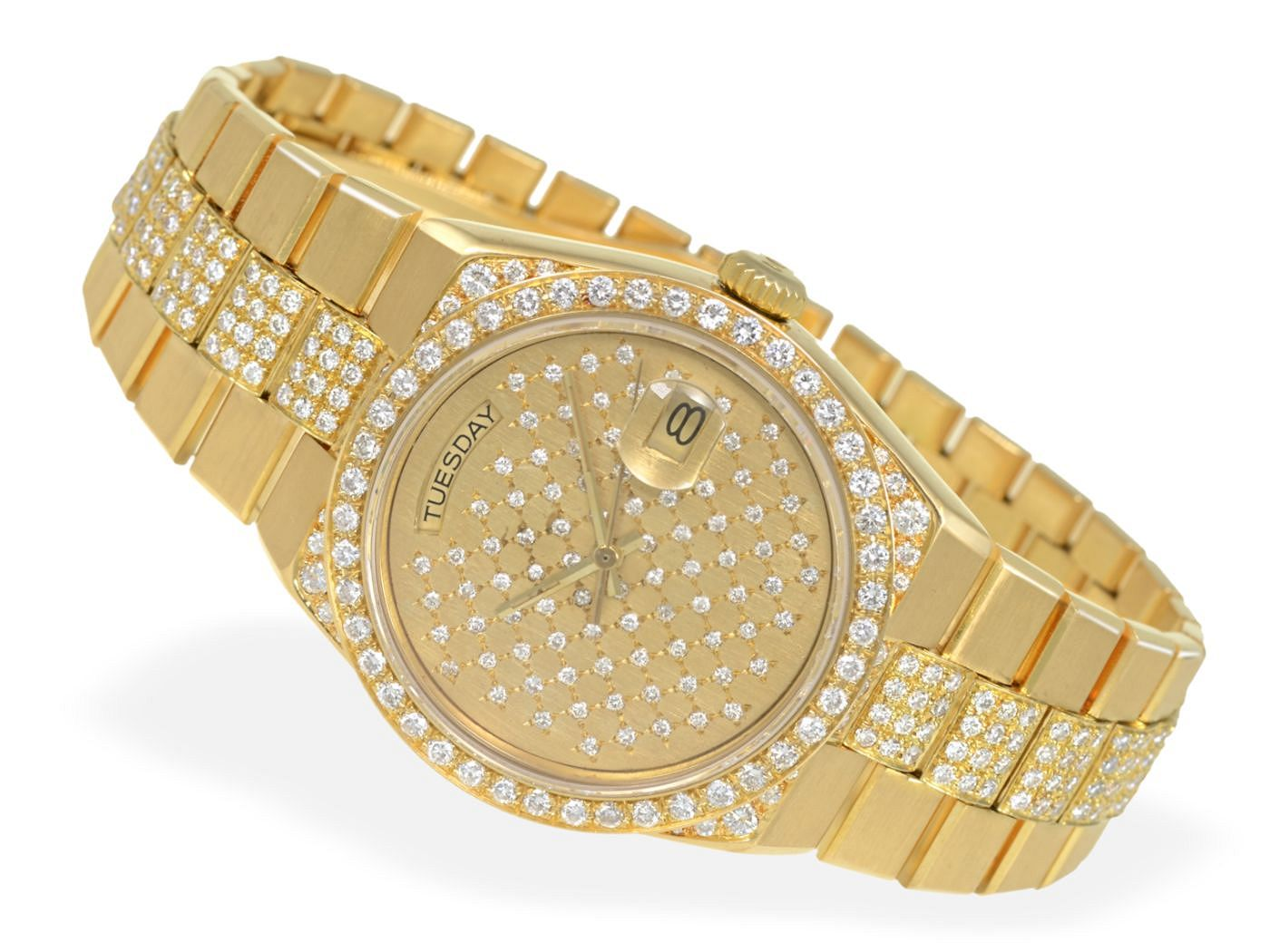 Wristwatch: luxurious heavy gold gentlemen's watch with diamonds, Rolex Day-Date ref. 19018-