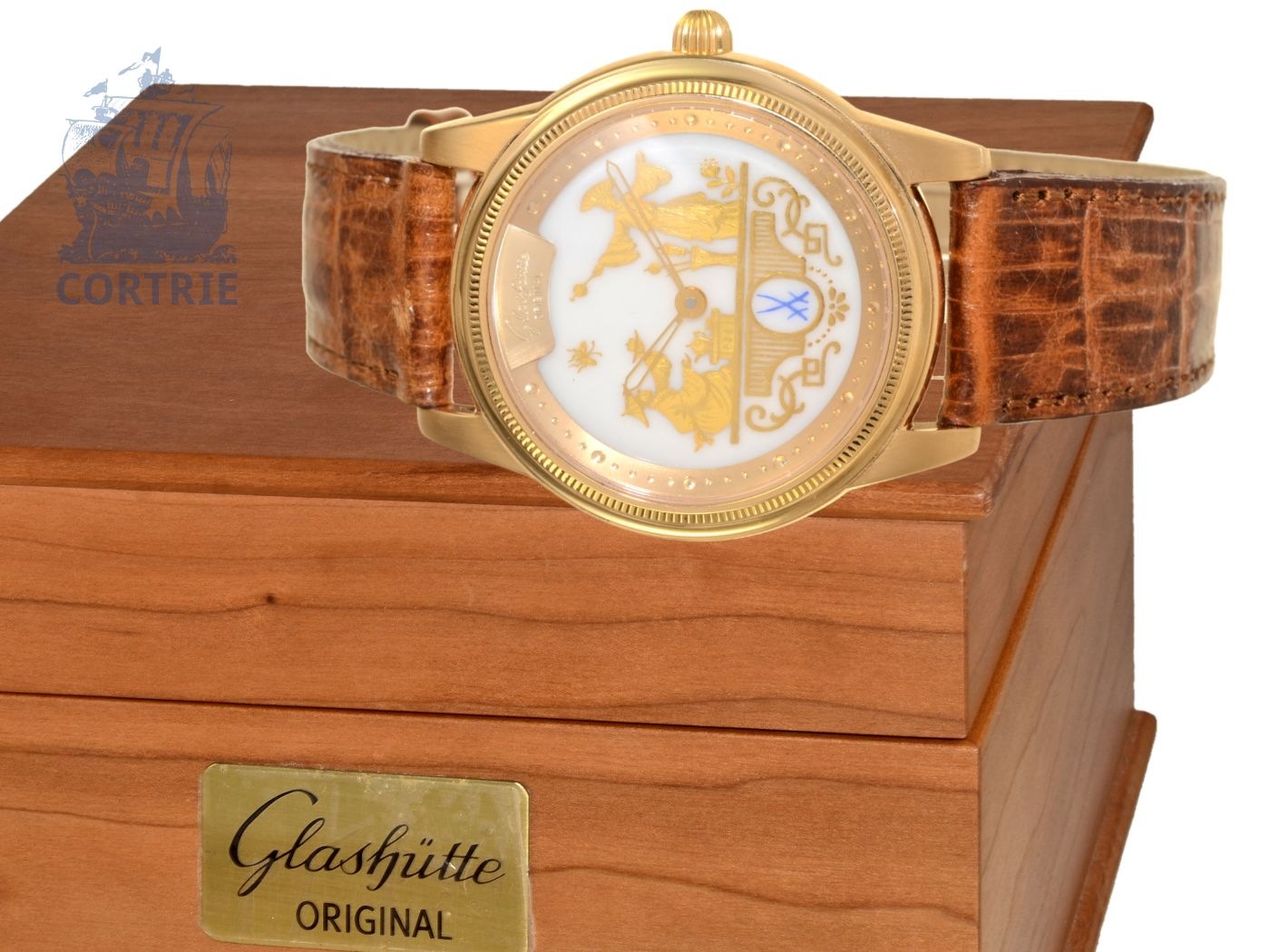 Wristwatch: very fine limited gentlemen's watch Glashütte Original 1845 Meissen Chinois with box and certificates, no.041/150, perfect condition-