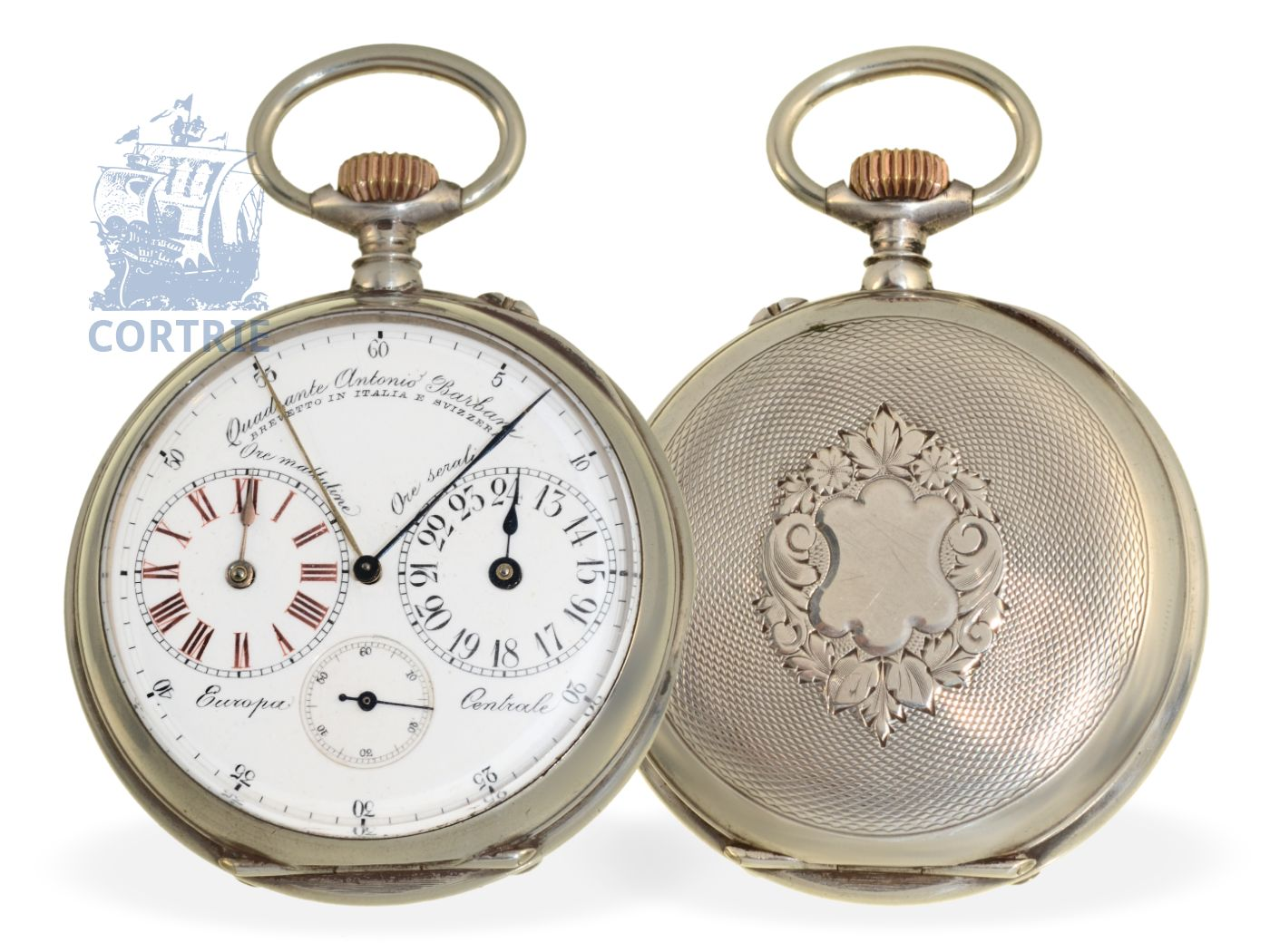 Pocket watch: extremely rare Italian deck watch with 2 time zones and 2 central minute hands, signed Barbani, ca. 1890-