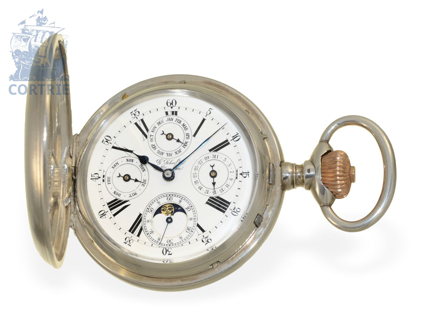 Pocket watch/coach clock: rare oversized German Ankerchronometer with triple date and moon, Watchmaker of the Court Gustav Schulze Munich ca. 1900-