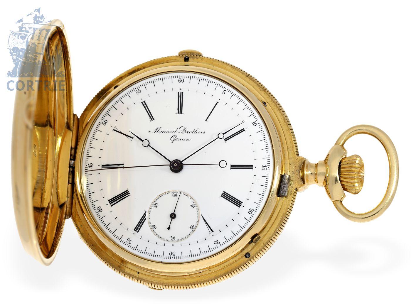 Pocket watch: heavy Geneva chronograph, prime quality Ankerchronometer, Jules Monard Geneve, ca. 1875-