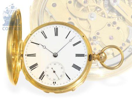 Pocket watch: very rare and technical interesting minute repeater chronometer, watchmaker of the court Sigismond Mercier à Genève, Horloger Breveté de Sa Majesté Britanique, ca. 1850-