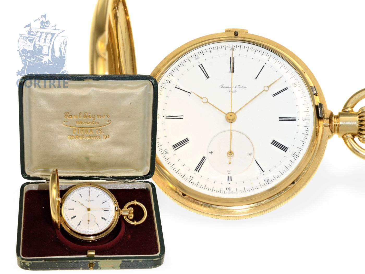 Pocket watch: very fine and rare James Nardin chronograph with rare double complication of Seconde Morte and stoppable flashing 1/4 seconds-