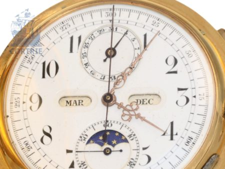 Pocket watch: heavy astronomic gold hunting case watch with 6 complications, Invicta ca. 1890-