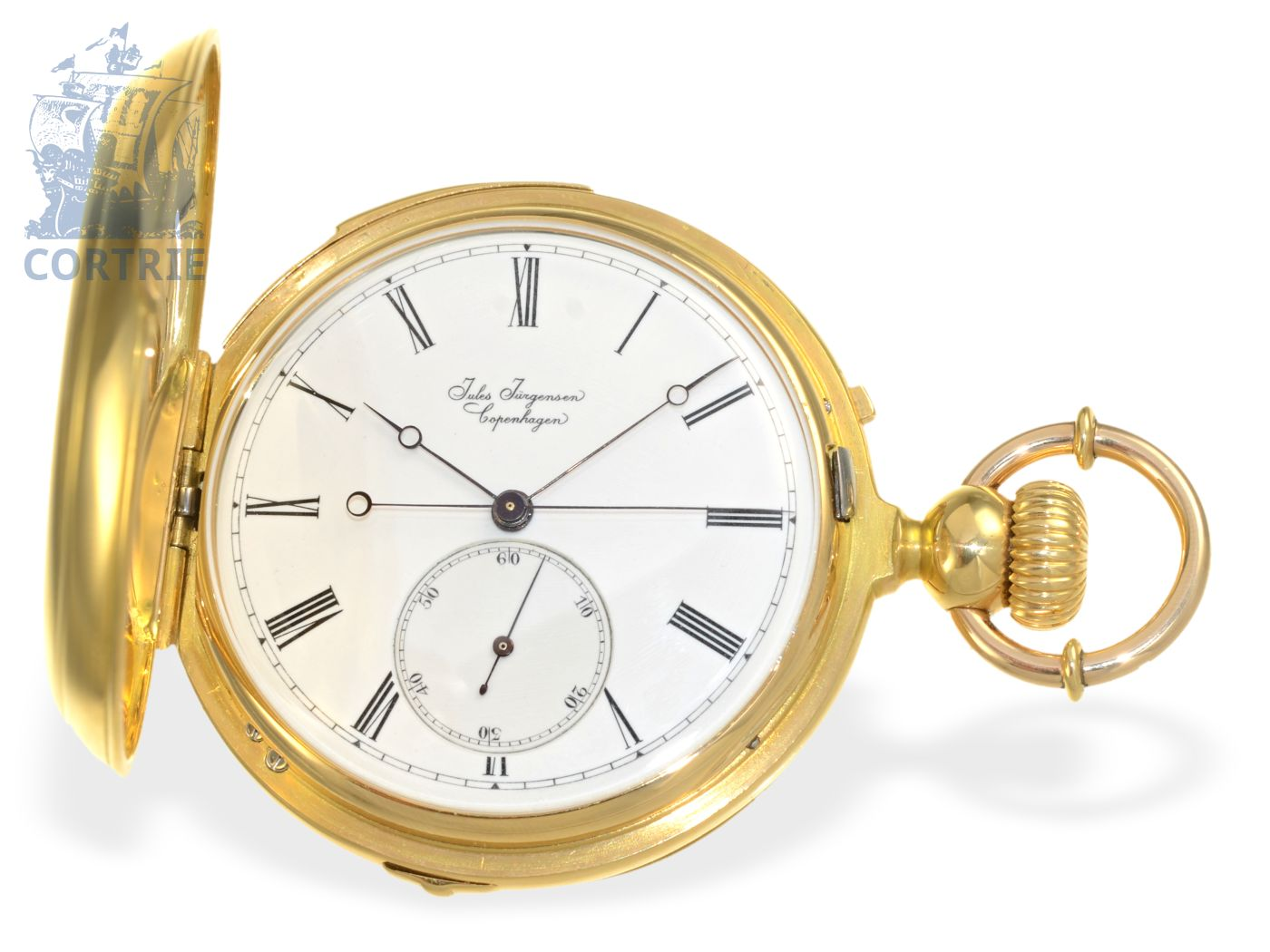 Pocket watch: Jules Jürgensen rarity, extremely early hunting case repeater, ca. 1856, rare combination with Seconde Morte-