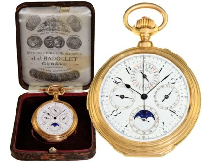 Pocket watch: important Geneva pocket watch with 7 complications, J.J. Badollet Genéve ca. 1900, with original box-