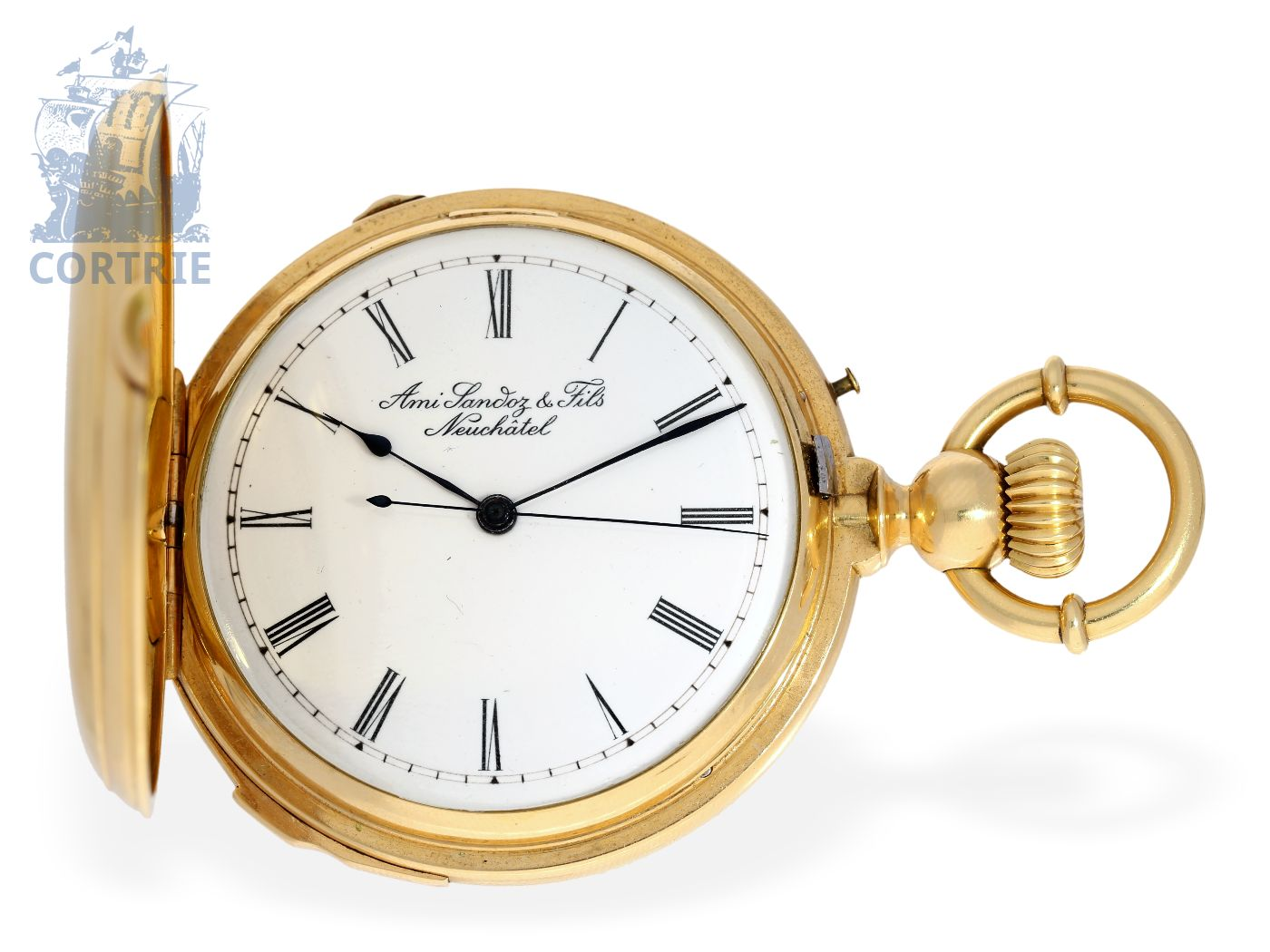 Pocket watch: very rare gold hunting case minute repeater with Seconde Morte, Ami Sandoz No.35408 ca. 1860-