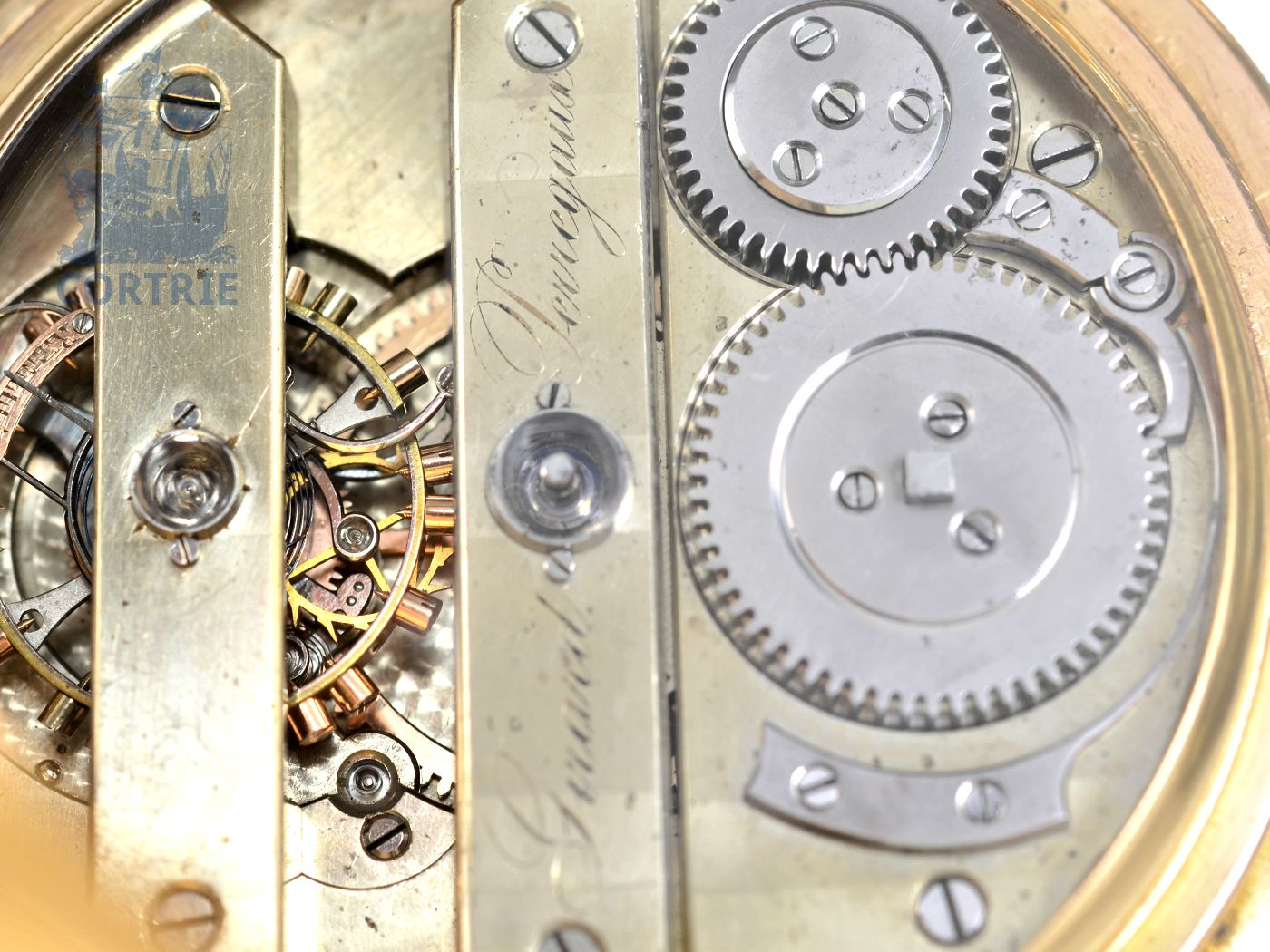 Pocket watch: Girard Perregaux gold hunting case watch with tourbillon, very rare construction, ca. 1884-