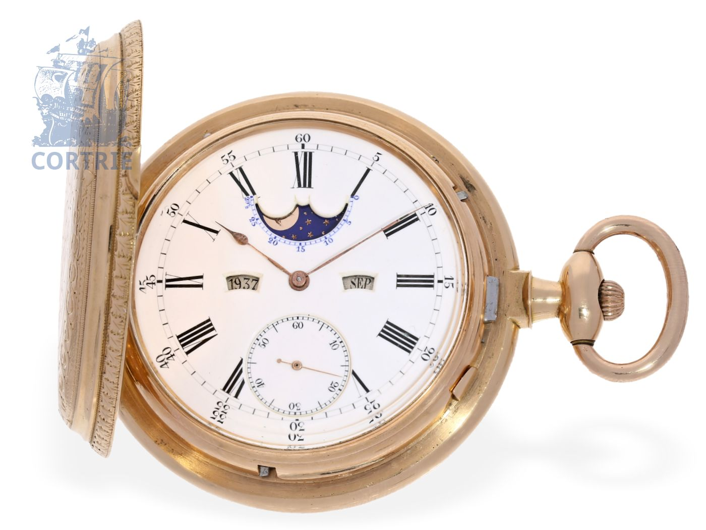 Pocket watch: extremely rare and heavy, astronomical double face pink gold hunting case watch, special winding mechanism with spring lid, perpetual calendar and moon, B. Haas Jeune & Co. Genève & Paris ca.1885-