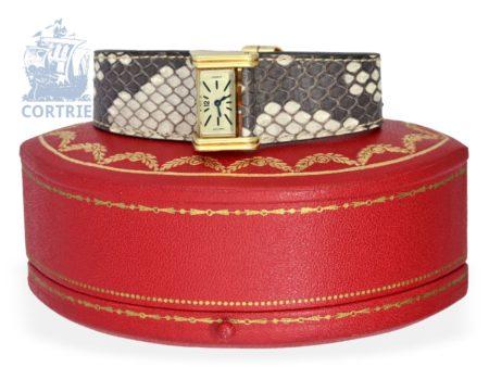 Wristwatch: extremely rare Art Deco rarity, Cartier Driver Baguette à cadran incliné et mouvement Duoplan, ca. 1936-