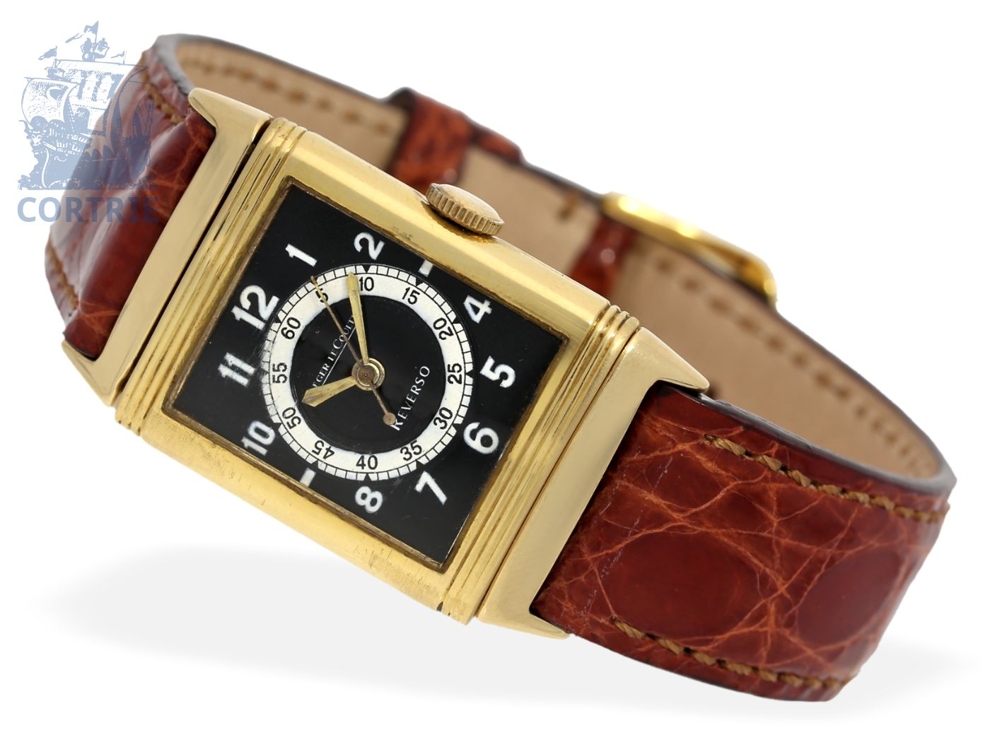 Wristwatch: Le Coultre rarity, very early Reverso Center Seconds, rare gold edition, probably 1940-