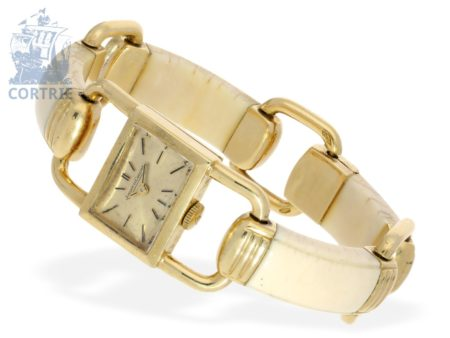 Wristwatch: very rare vintage designer watch JAEGER LECOULTRE / HERMÈS LUCCETTO-ETRIER GOLD & IVORY, from the 60s-
