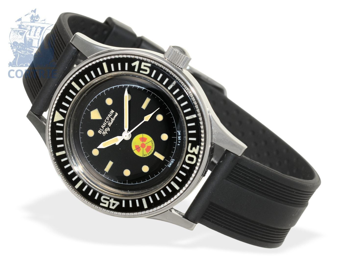 Wristwatch: extremely rare military diver's watch, Blancpain Fifty Fathoms No Radiations, 50s/60s-