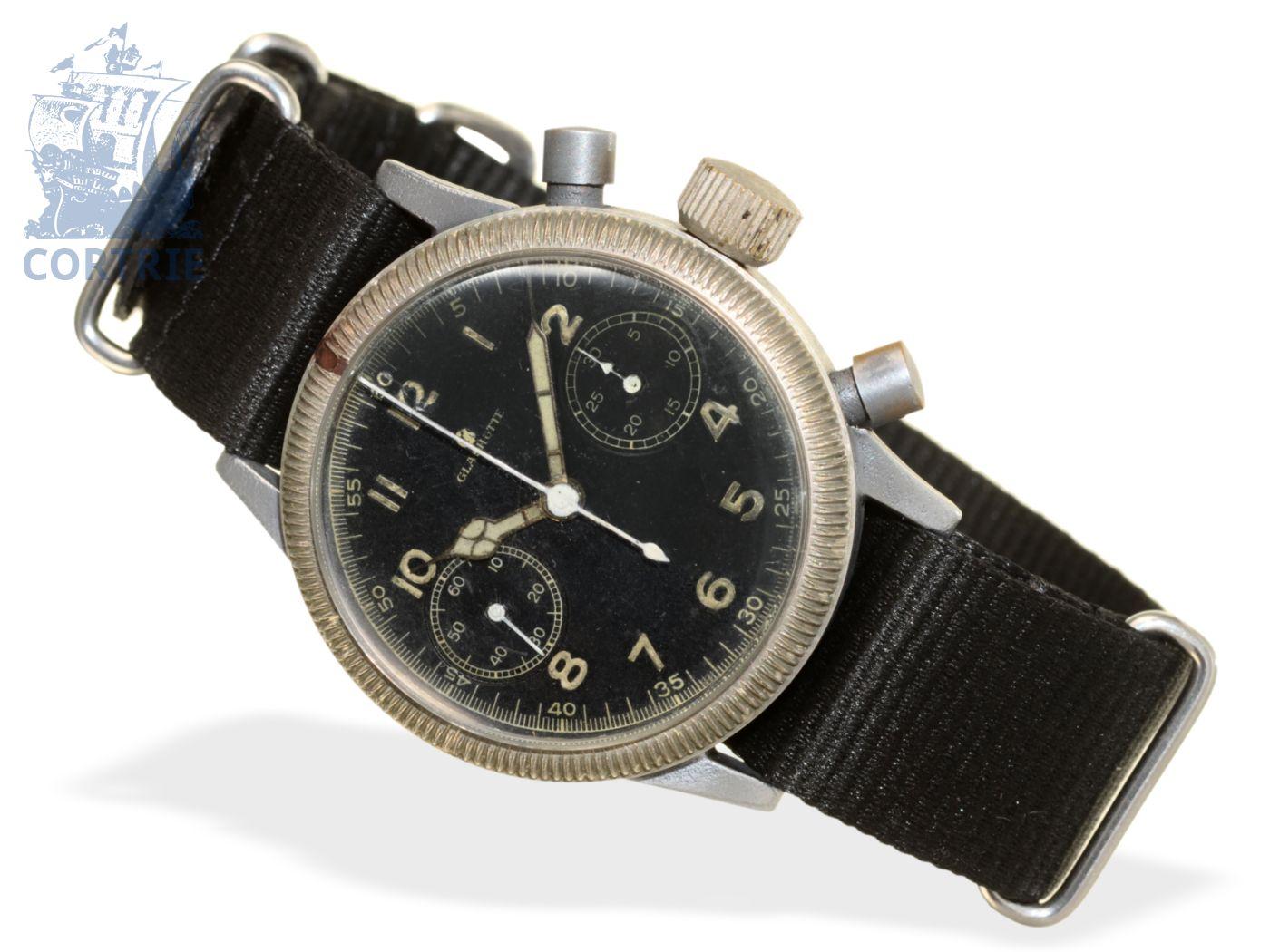 Wristwatch: rare pilot's chronograph from the 40s, Tutima Glashütte-