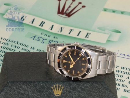 Wristwatch: Rolex rarity, very early Submariner James Bond Ref. 6536, rare Radium Exclamation Dial, box and certificates, 1957-