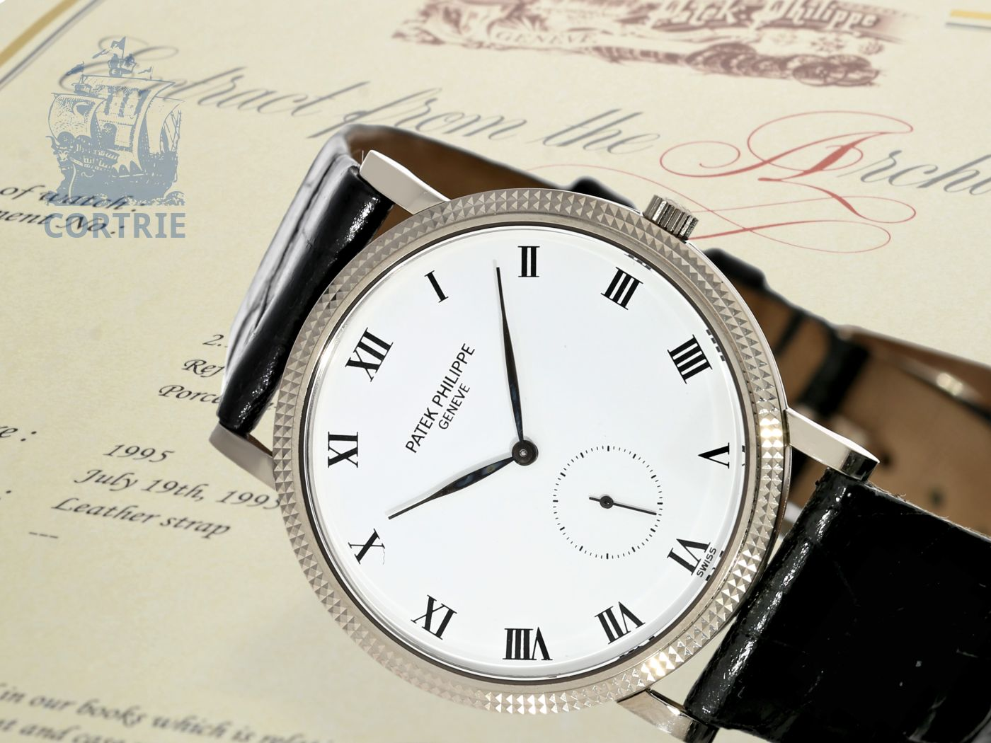 "Wristwatch: very fine and rare Patek Philippe Calatrava ""Clous de Paris - Porcelain"" Ref.3919, white gold, with Patek Philippe certificate-"