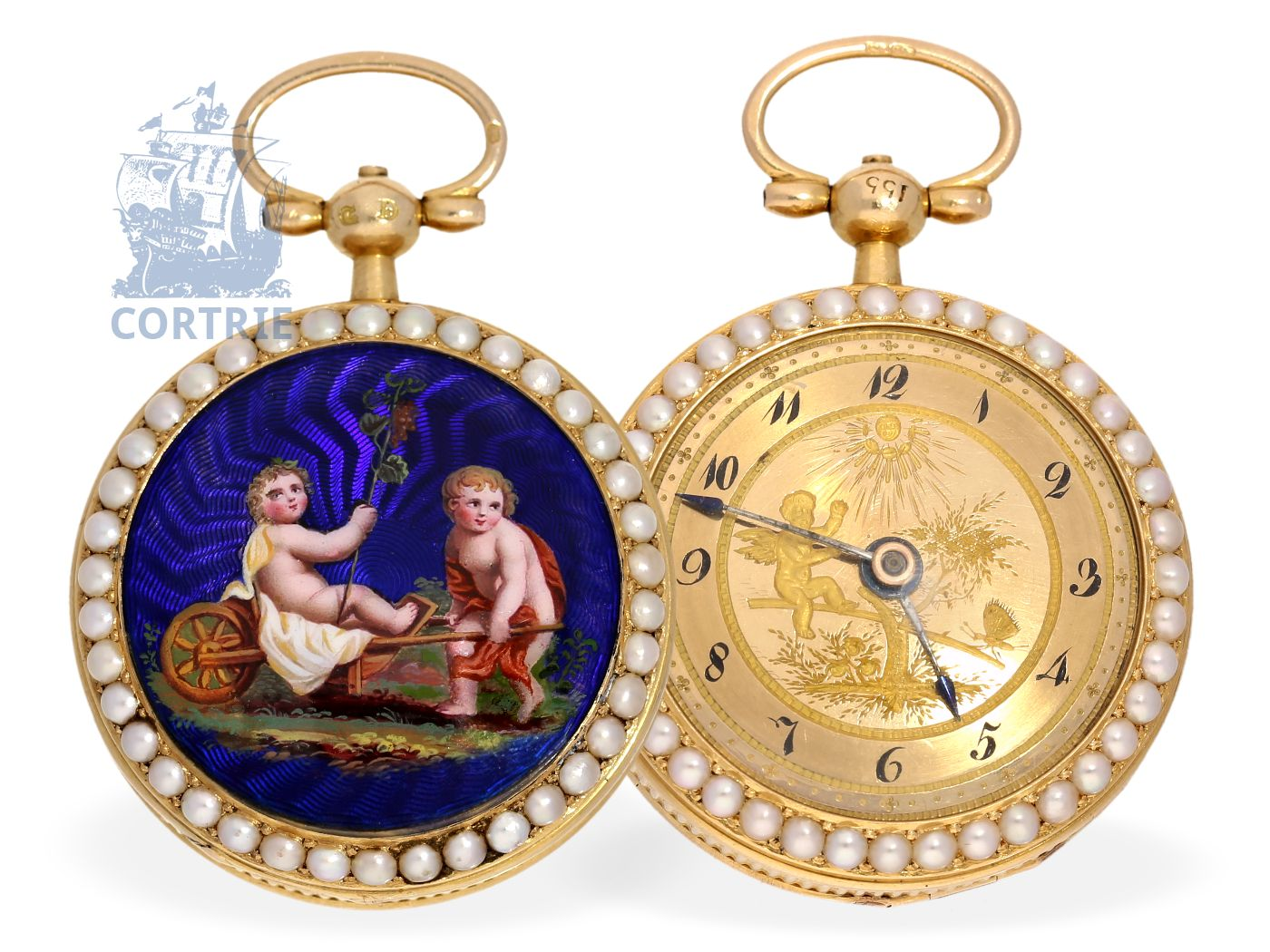 Pocket watch: rarity, gold/enamel miniature pocket watch with original pearls and music movement, Joseph Revel Paris No.2885-