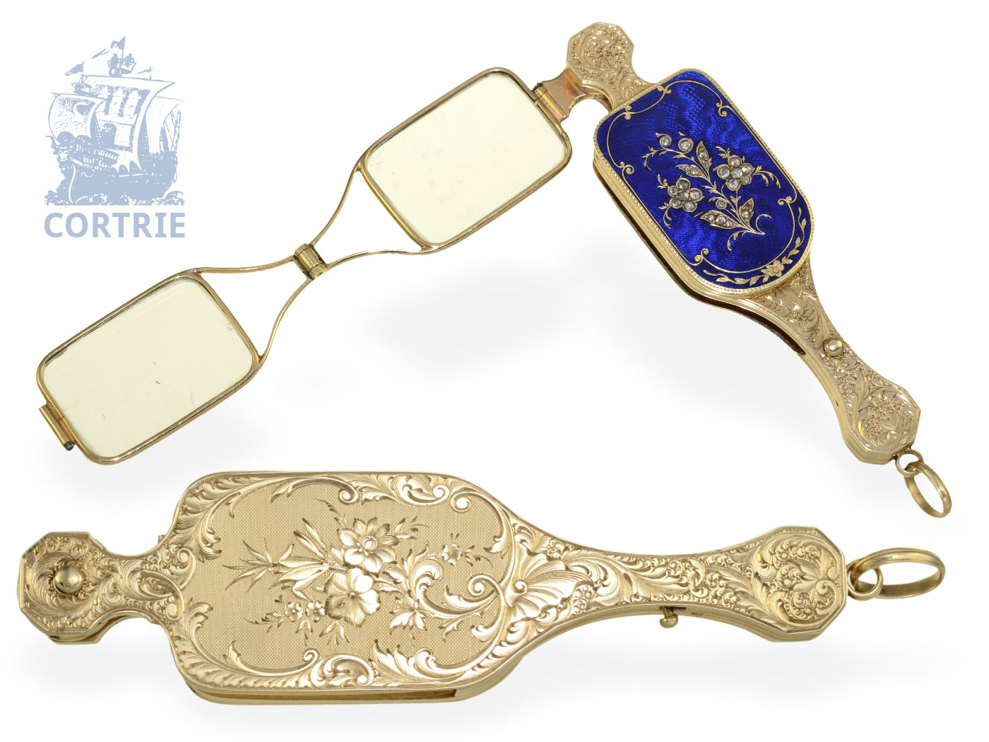 Pendant watch/form watch: very fine Geneva gold/enamel Lorgnette with diamonds and hidden watch, probably Bautte Geneve ca. 1830-