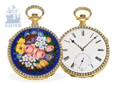 Pocket watch: big and very beautiful enamel pocket watch repeater with pearls, Switzerland for Chinese market, ca. 1860-