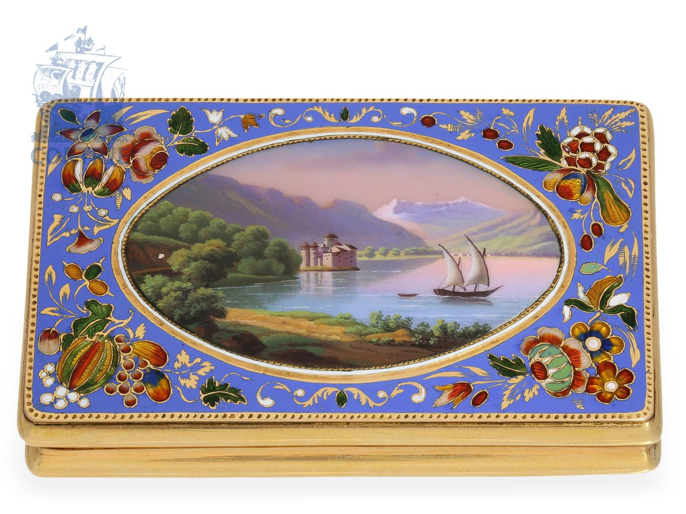 Box: exquisite gold/enamel snuff box, finest quality, probably Geneva ca. 1820-