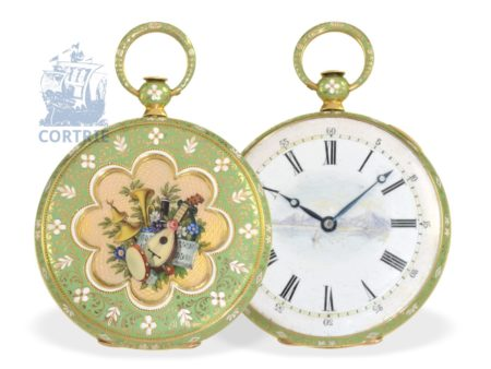 Pocket watch: important and very fine gold/enamel watch by Breguet's trainee, signed Leroi Elève de Breguet No. 4508, ca. 1830-