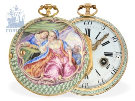 Pocket watch: extremely rare rococo gold/enamel verge watch, high quality, Julien Le Roy Paris ca. 1740-