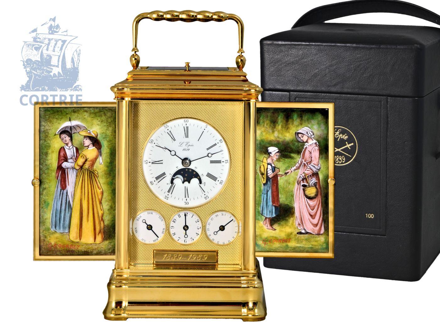 Travel clock: very rare and limited travel clock, L'EPÉE LA CENT CINQUANTENAIRE - THE TOURBILLON MUSICAL CARRIAGE CLOCK L'Epée, Sainte-Suzanne, France, No. 100/150, 20th century-