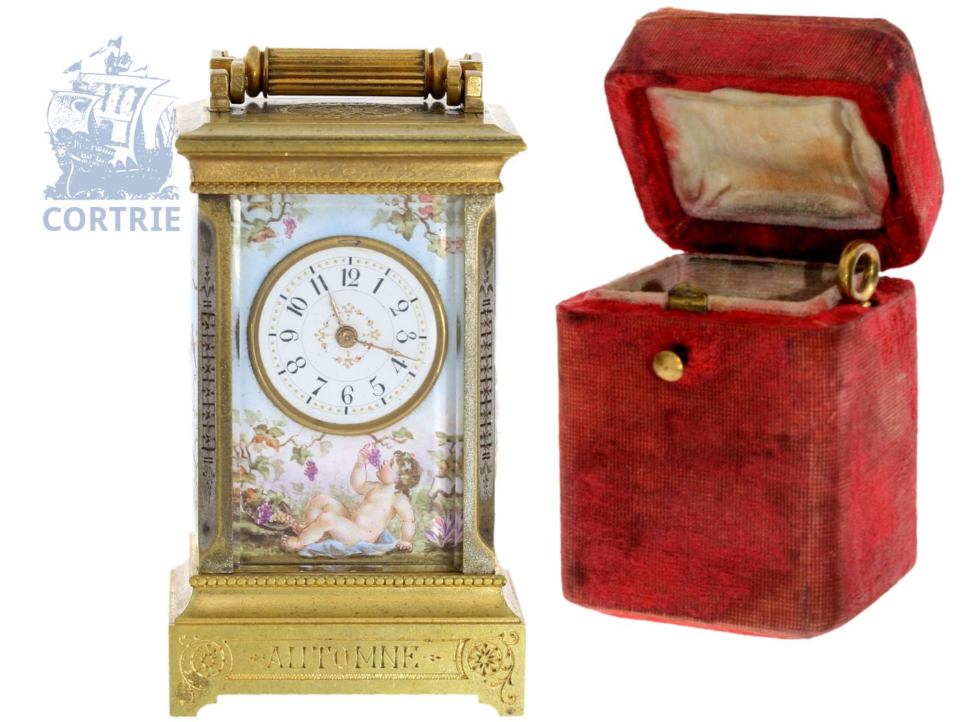 Travel clock: exquisite and very rare French miniature travel clock with complex enamel painting and original box, France ca. 1880-