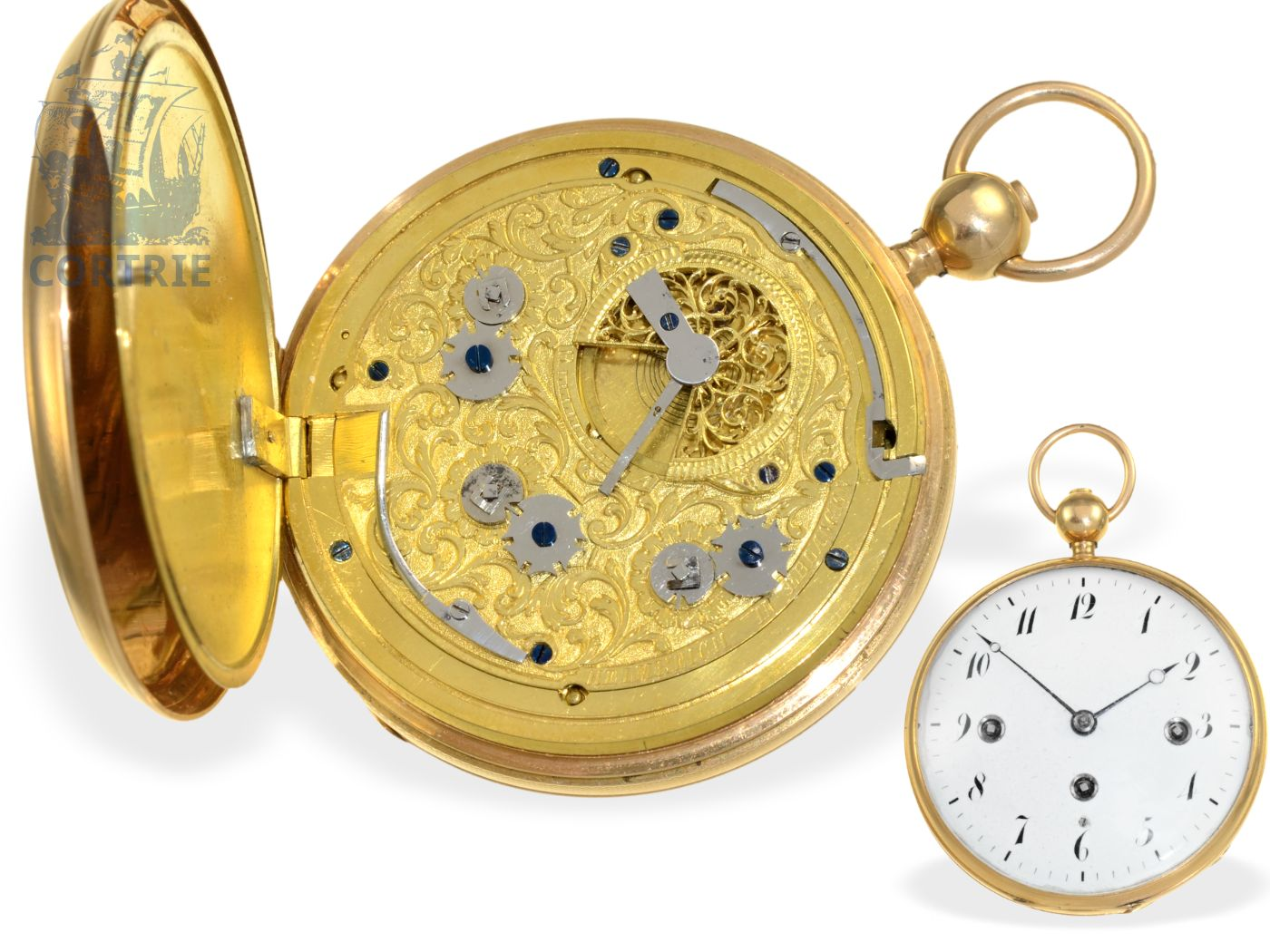 Pocket watch: technical interesting and extremely rare German pocket watch repeater with Grande Sonnerie, Johann Thomas Heinrich Helmreich Erlangen, ca. 1810-