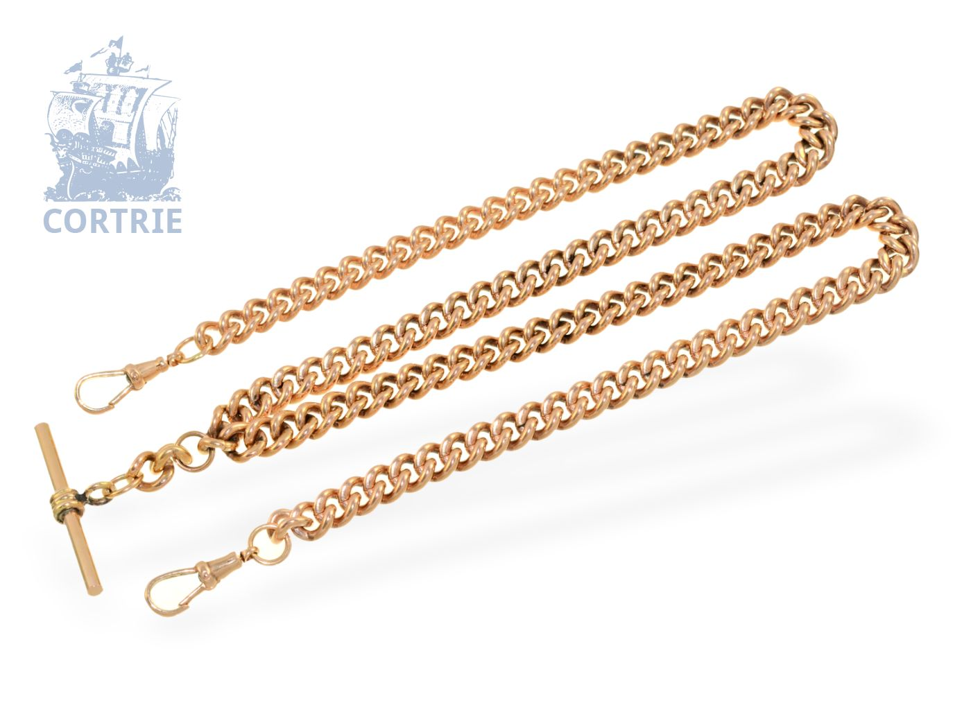 Watch chain: heavy English pocket watch chain, solid pink gold, England ca. 1900-