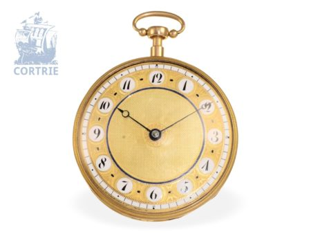 Pocket watch: exquisite pocket watch repeater with music movement, signed LC with a crown, No.7596 ca. 1830-