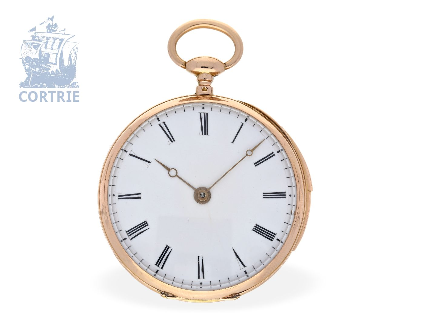 Pocket watch: technical interesting and big French repeater with fine lever movement, France ca. 1840-