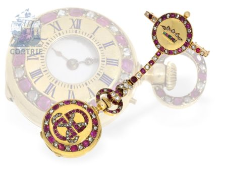 Pendant watch/brooch watch: exquisite and unique miniature half hunting case watch with original brooch, rubies and diamonds, Henry a Paris ca. 1900-