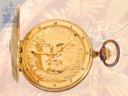 Pocket watch: unused, limited IWC pocket watch new-old-stock, 'Scarabaeus-Fuchs-Huntingcase', Ernst Fuchs design, Schaffhausen from the 80s-