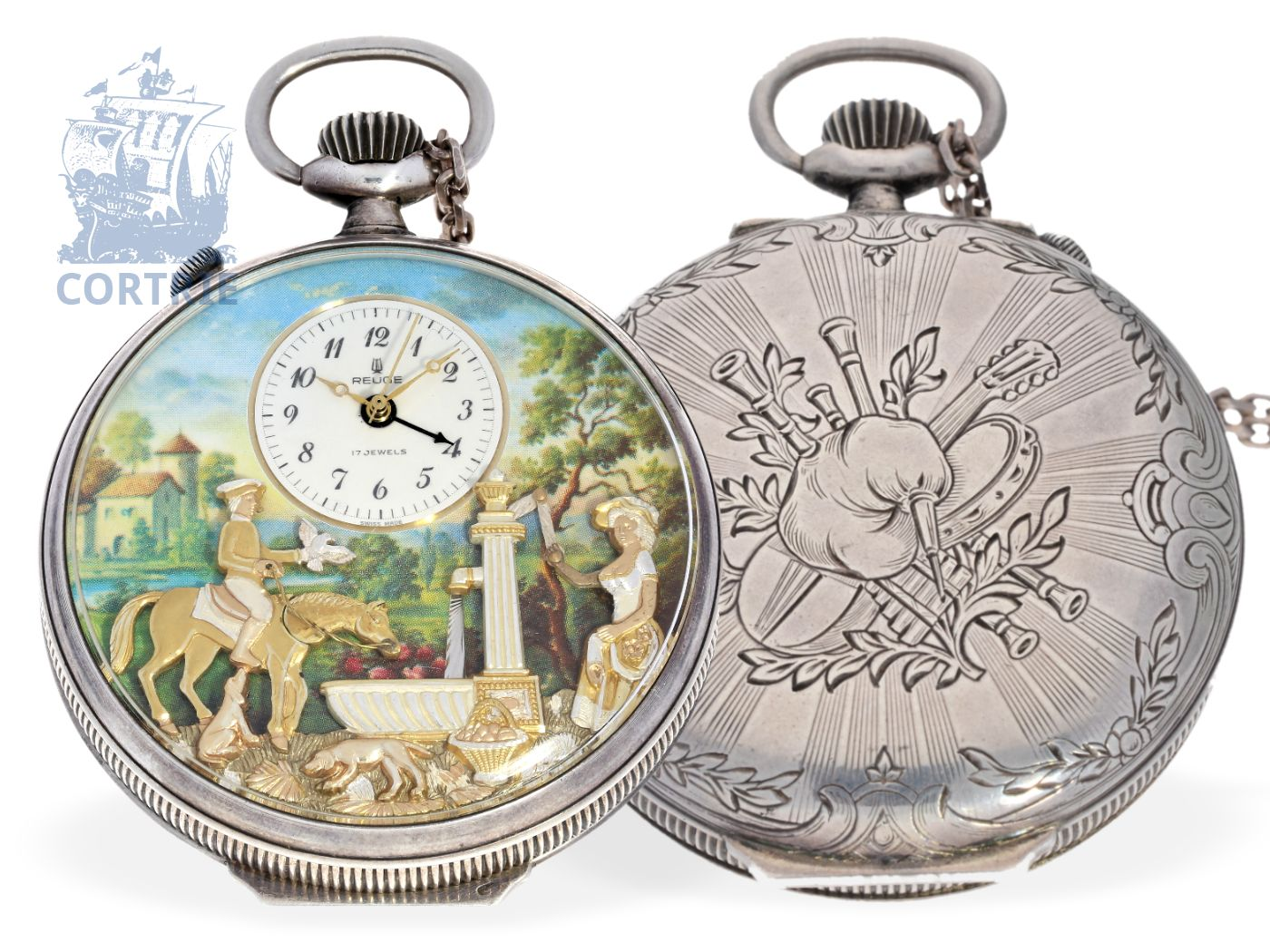 Pocket watch: complicated pocket watch with alarm, Reuge, music movement and figured automaton, very rare silver edition-