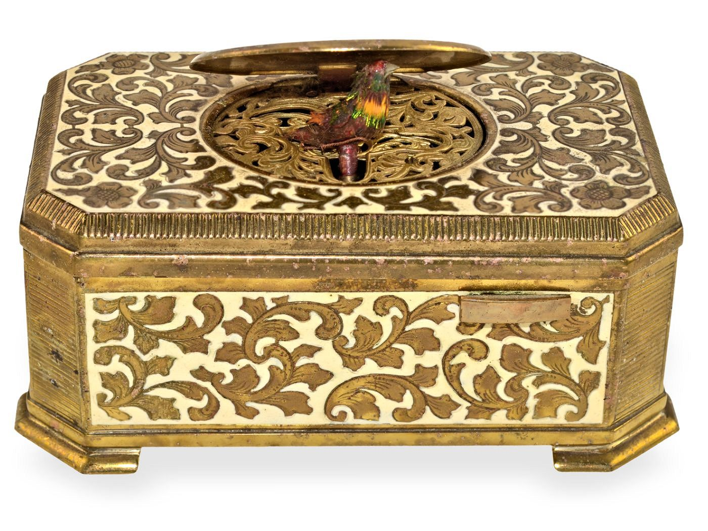 Singing bird box: extremely rare enameled singing bird box, Griessbaum, enamel case by Emil Brenk (1905-1988)-