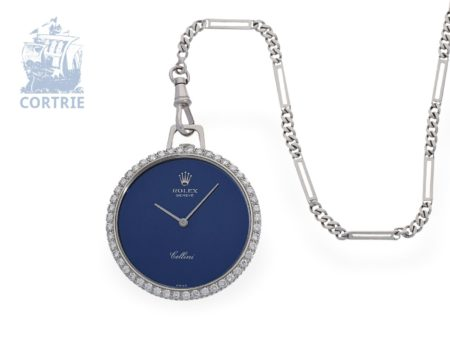 Pocket watch/pendant watch: very luxurious and rare Rolex Cellini ladies watch with original diamonds, from the 70s-