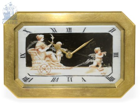 Table clock: French Art Nouveau table clock with ivory painting, France ca. 1910-