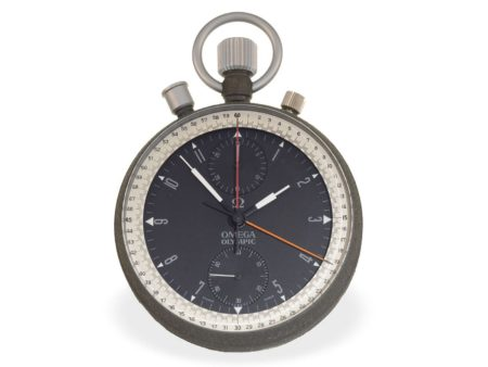 Pocket watch: very rare and big split seconds chronograph, used for the Olympic games, Omega Olympic Nuit Spatiale, made for Olympic Games Mexico 1968-