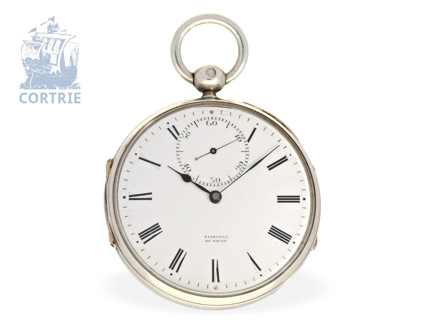 Pocket watch: very rare and very fine pocket watch chronometer, Winnerl-Schüler Simon Vissière (1822-1887) Le Havre France No.148, ca.1870-