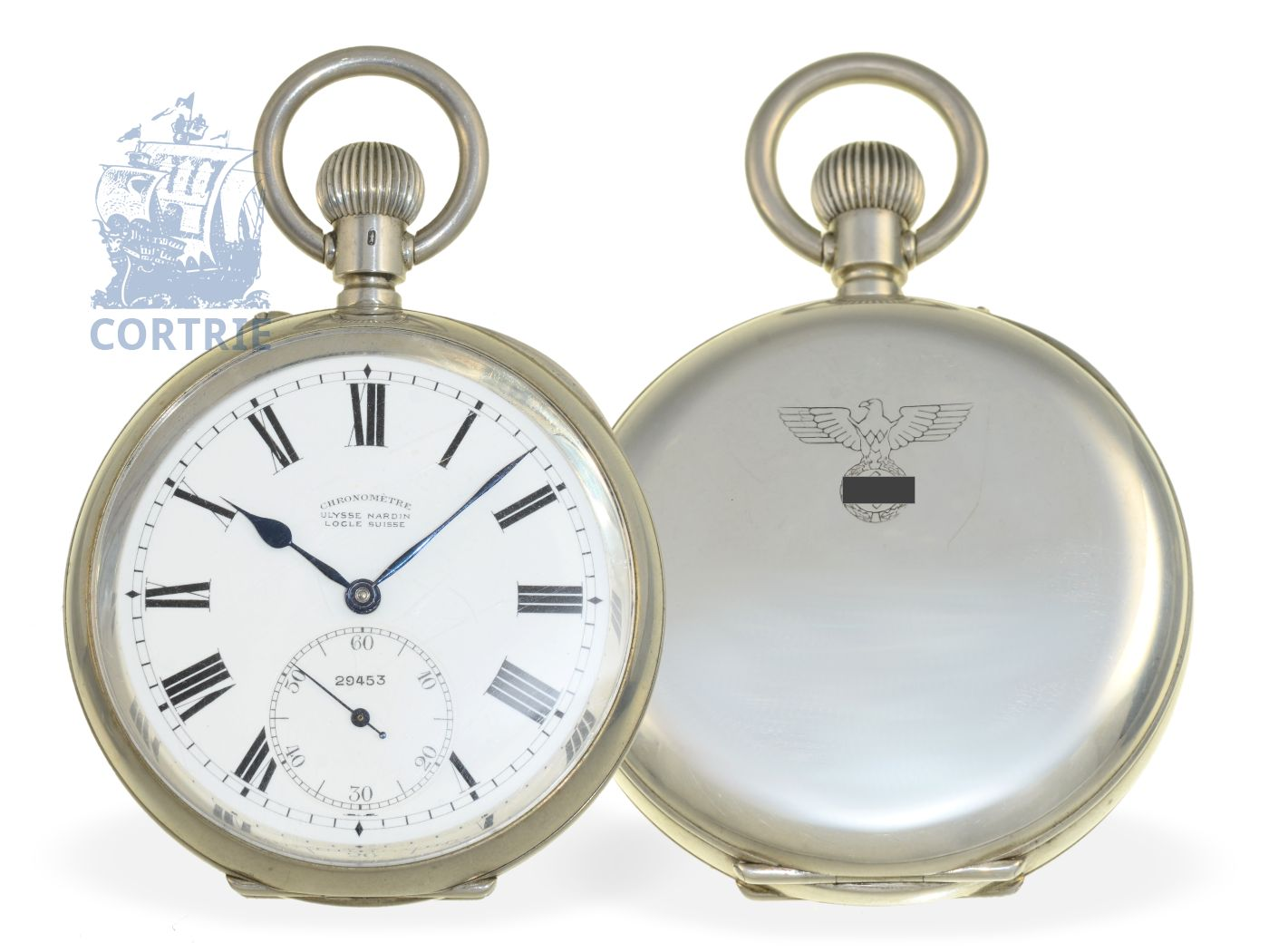 Pocket watch: very fine Ulysee Nardin Ankerchronometer of the German Navy, ca. 1940-