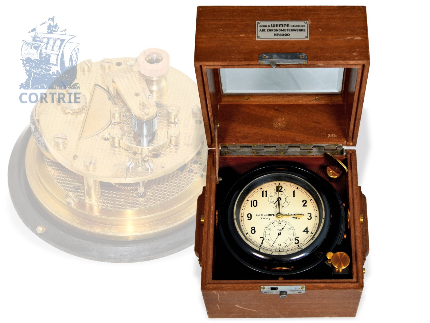 Box chronometer/ship's chronometer: rare Wempe marine chronometer, Ankerchronometer with Glashütte balance, Glashütte/Hamburg, from the 40s-