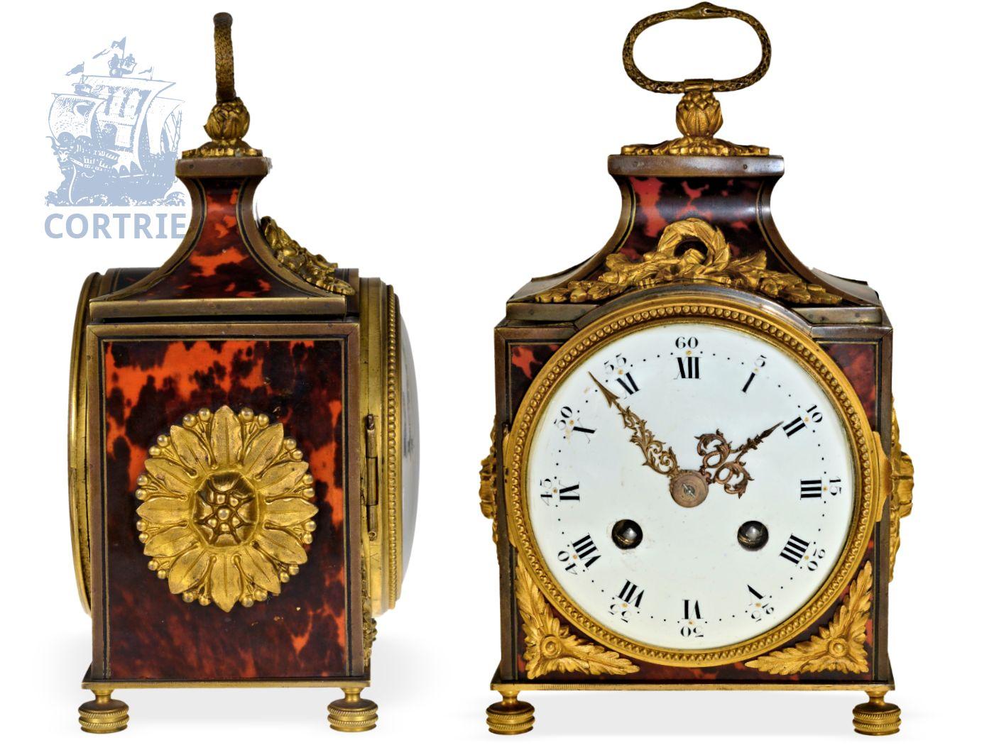 Travel clock: decorative officer's travel clock with tortoiseshell/bronze case, striking train, probably France ca. 1860-